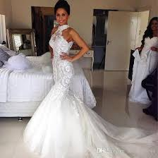 fitted wedding dresses halted neckline mermaid wedding dress lace appliqued