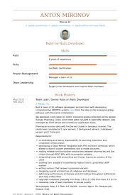 Developer Resume Sample by Ruby On Rails Developer Resume Samples Visualcv Resume Samples