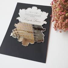 wedding invitation sle 100pcs per lot silver mirror acrylic 5 7inch laser engraving