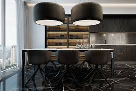 modern dining room design with dark color concepts roohome