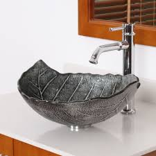 kitchen sink and faucet combo elite winter leaves style design tempered glass bathroom vessel