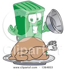 clipart of a green rolling trash can bin mascot holding