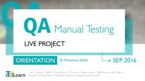 qa manual testing live project orientation session for beginners