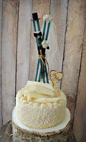 ski winter snowboard christmas wedding cake topper bride groom
