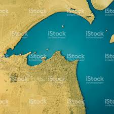 kuwait city topographic map natural color top view stock photo