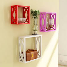 Wooden Wall Shelves Red Pink White Wooden Nested Wall Shelf With Jali Work Set Of