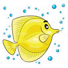 yellow tang fish cartoon stock vector art 585619176 istock