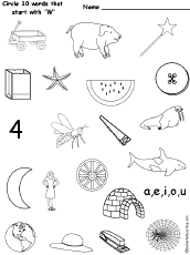 circle words that start with each letter of the alphabet at