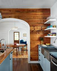 shiplap poplar accent wall kitchen farmhouse with white trim front