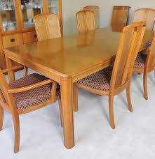 oak dining table and eight chairs by stanley furniture ebth