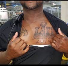 eagles fan tattoos bowl 52 prediction across his chest