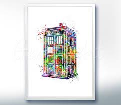tardis doctor who watercolor art poster print wall decor