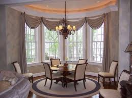 window treatments for bay windows in dining room home decorating