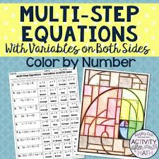 multi step equations with variables on both sides color by number