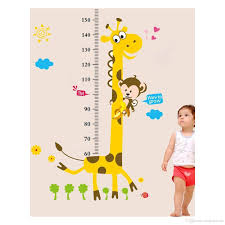 cute giraffe monkey height ruler wall decal stickers removable pvc cute giraffe monkey height ruler wall decal stickers removable pvc growth chart wall art murals for kids room nursery living room cloud wall stickers