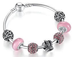 silver pink bracelet images Elegant 925 silver charm fit pandora bracelet bangle jpg