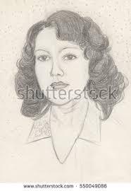 female portrait pencil drawing fine art stock illustration