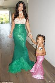 Mother Daughter Matching Halloween Costumes Kim Kardashian Reveals North Loved Mermaid Costume Kim