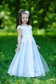 blue flower dress tulle dress girls dresses pageant