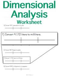 dimensional analysis worksheet customize and print science