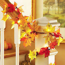 fall thanksgiving maple leaf garland decoration decor led lighted