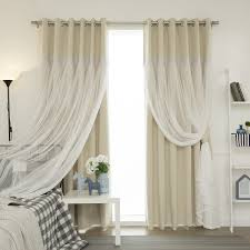 Curtain Pair Home Lace Overlay Propose Blackout Grommet Top Curtain