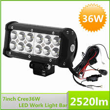 12v 7 inch 36w cree led work light bar lamp for tractor off road