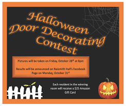 spooky door decor contest naismith hall