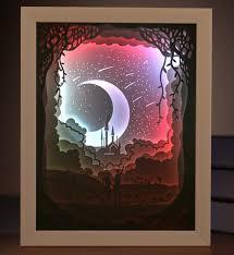 bureau meteor usb coloré 3d papier découpé meteor image cadre ombre lumière de