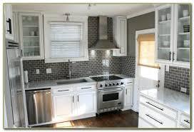 Grey Subway Tile Stunning Remodeled Kitchen Using Ice Gray Glass - Grey subway tile backsplash