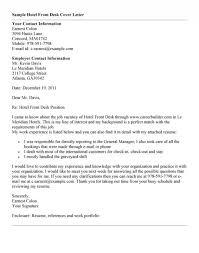 Cover Letter For Front Desk Position Desk Clerk Cover Letter Sample