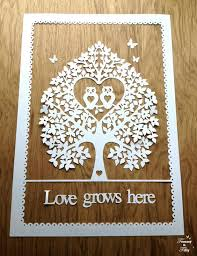 svg pdf owl tree design papercutting template to print