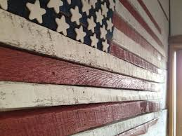 wooden american flag wall hanging burned outdoor rustic