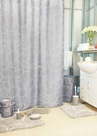 pebble stone shower curtain with bath mat set and match ceramic