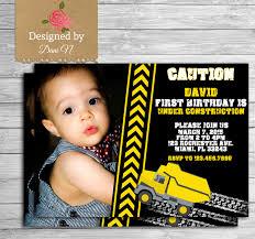 dump truck construction birthday invitation boy chalkboard