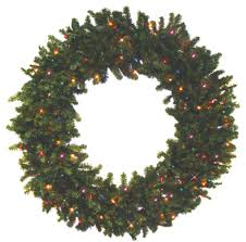 pre lit battery operated canadian pine artificial wreath