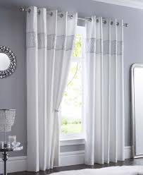 Curtain Pair Shimmer White Fully Lined Eyelet Ready Made Curtains