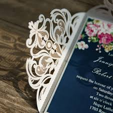 wedding invitations blue navy blue floral silver laser cut invitations ewws090 as low as