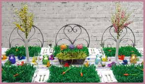 green paper easter grass table decoration ideas for easter