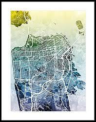 san francisco map framed san francisco framed prints america