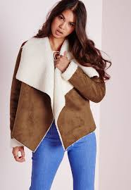 missguided faux suede waterfall shearling coat tan in brown lyst