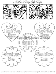 free mother u0027s day coloring gift tags educational printables