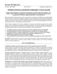 Logistic Coordinator Resume Sample by Logistics Operations Manager Resume Operations Logistics Project