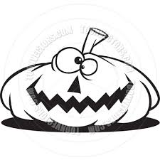 cartoon jack o u0027 lantern black and white line art by ron leishman