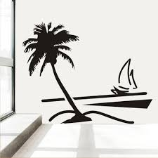 Sailboat Home Decor Beach Coconut Palm Tree Sailboat Wall Art Bathroom Glass Modern