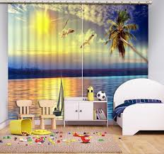 Patterned Window Curtains 3d Curtains Printed Custom Any Size Sunset Sea View Seagull