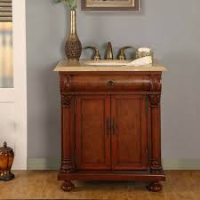 32 inch led lighted single sink bathroom vanity with travertine