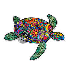 sea turtle car decal colorful design bumper sticker laptop