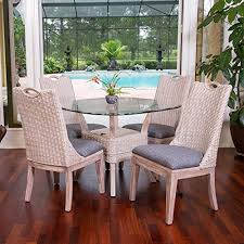 indoor wicker dining table belize rustic white indoor rattan and wicker 5 pc dining set from