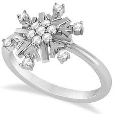 snowflake engagement ring large diamond snowflake shaped fashion ring 14k white gold 0 20ct